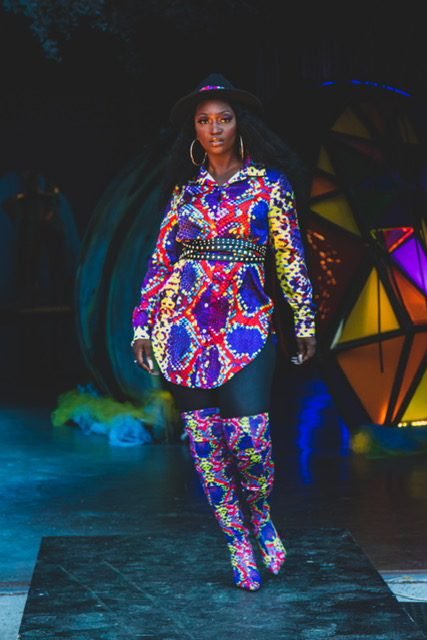 Soul of Cville, fashion show highlights woman in multi colored print